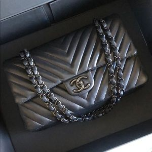 Chanel So Black Medium Chevron Double Flap Bag